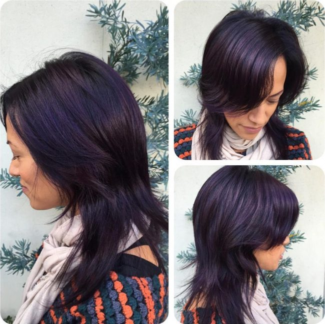 Shadowed Roots with Uniform Purple Balayage