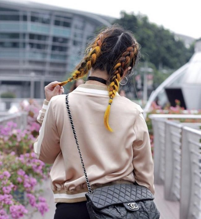 Short Braided Piggies for Highlighted Hair