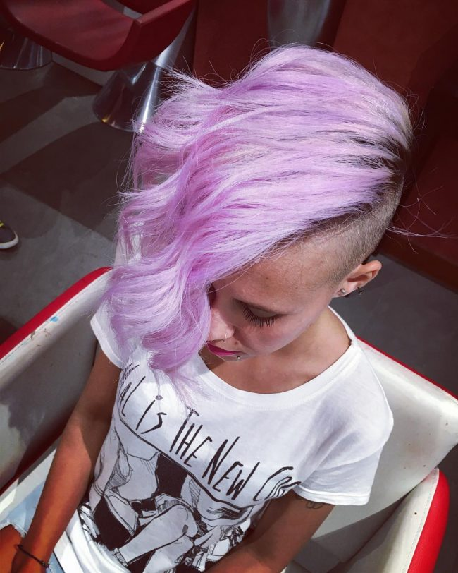 Side Swept Lilac Bangs with Undercut