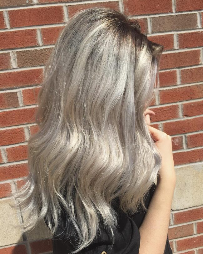 Solid Ice Blonde Balayage