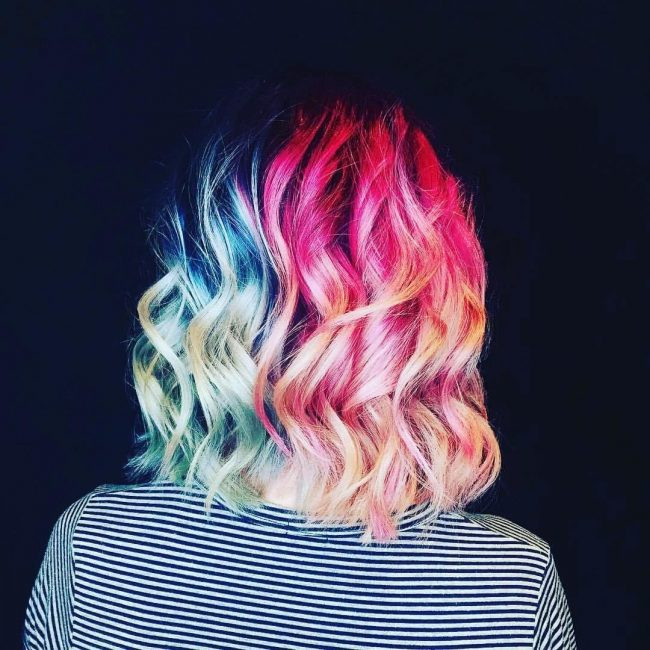 Textured Pink and Blue Waves