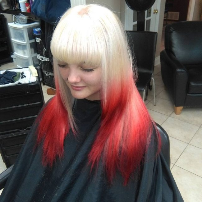 Thick Blonde to Ruby Red Bangs