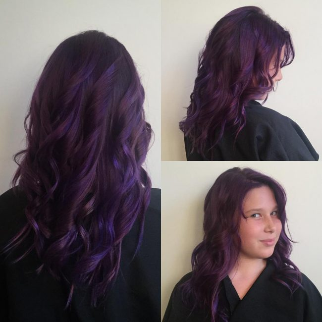 Vibrant and Dark Purple Hair